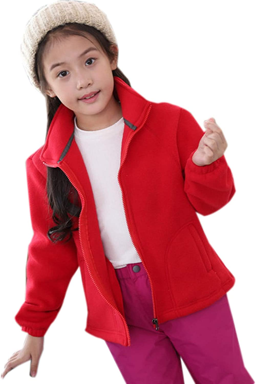 ZumZup Women Men Kids Fleece Jacket Full Zip Stand Collar Sportwear Top Outwear