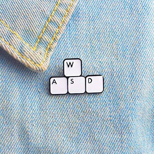 chenlong WASD Keyboard Emaille Pin Keys Tabletten Broschen Geschenkspiel Symbol Denim Jeans Pin Badge Button Anstecknadel für Kleidung Cap Bag