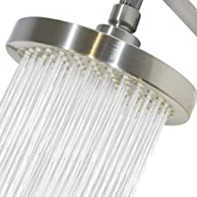 High Pressure Shower Head- 6 inch- Brushed Nickel Rainfall- replacement -with removable water flow restrictor- tool free i...
