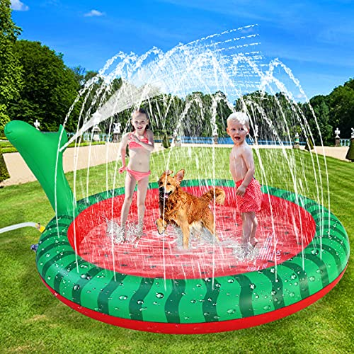 Apfity Splash Pad for Kids Dogs, 68' Sprinkle Play Mat Summer Water Toys Inflatable Swimming Pool for Toddlers Baby Kiddie and Pets Dog...