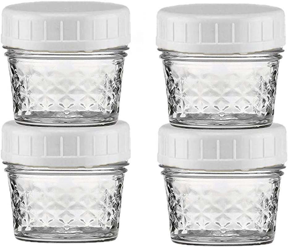 EASY BUSY Kitchen Combo Of Mini Ball 4 Oz Clear Glass Mason Canning Jar With EB White Food Storage Plastic Lids Set Of 4 Regular Mouth Caps Fit RM Ball Kerr Jars Containers Reusable BPA Free