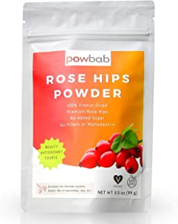 powbab Rose Hips Powder from 100% Organic Rose Hips. Premium Species. Made from Freeze Dried Ground Rosehips Using Seedles...