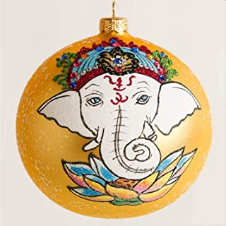 Home and Holiday Shops Ganesha with Lotus Flowers Hindu Deity Polish Glass Ball Ornament Made in Poland