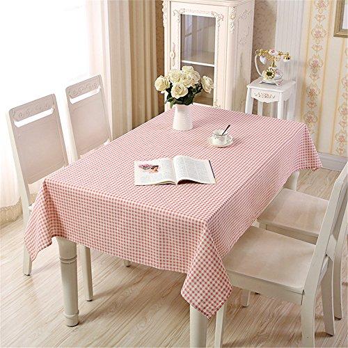 Couverture de table oblongue en lin avec nappe rectangulaire en lin anti-décoloration, décoration pour la cuisine, salle à manger, cour, café, fête, ou pique-nique,rose,120*160cm