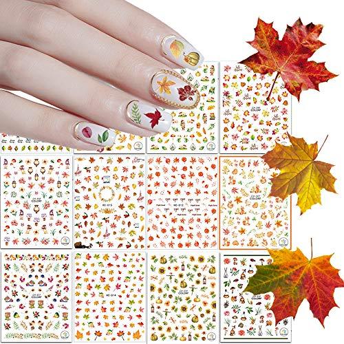 Kalolary 12 hojas Caída del otoño Pequeñas Pegatinas Uñas 3D Nail Art Stickers Pegatina uñas Calcomanías autoadherentes Nail Art Decoración DIY Etiqueta