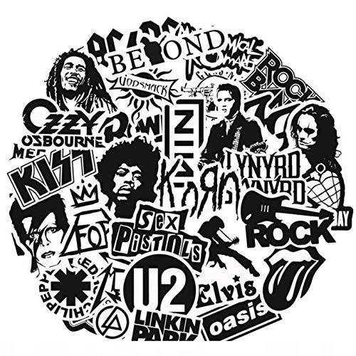 FENGLING Pegatinas de Banda de Rock en Blanco y Negro, monopatín Punk, Motor de Coche, portátil, Guitarra, Juguete clásico para niños, Pegatinas de Graffiti, 50 Uds.