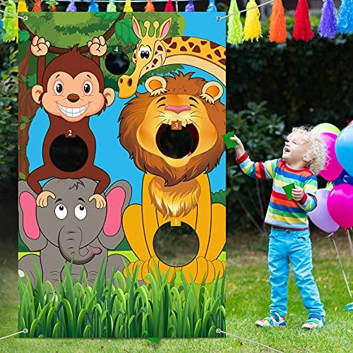 Banner di Giochi di Lancio di Animali da Safari con Sacchetti di Fagioli Sfondo di Animali Selvatici della Giungla Sfondo di Foto di Animali dello Zoo Gioco di Lancio di Animali Divertenti