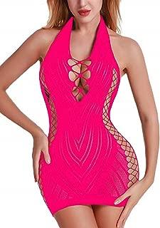 pink ladygaga Women Fishnet Babydoll Lingerie Chemise Halter Nightwear Mini Teddy Dress