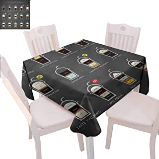Zara Henry Coffee Anti-Wrinkle Tablecloth ICY Drink Recipe Ingredients Outdoor Square Rectangular Tablecloth W54 xL54