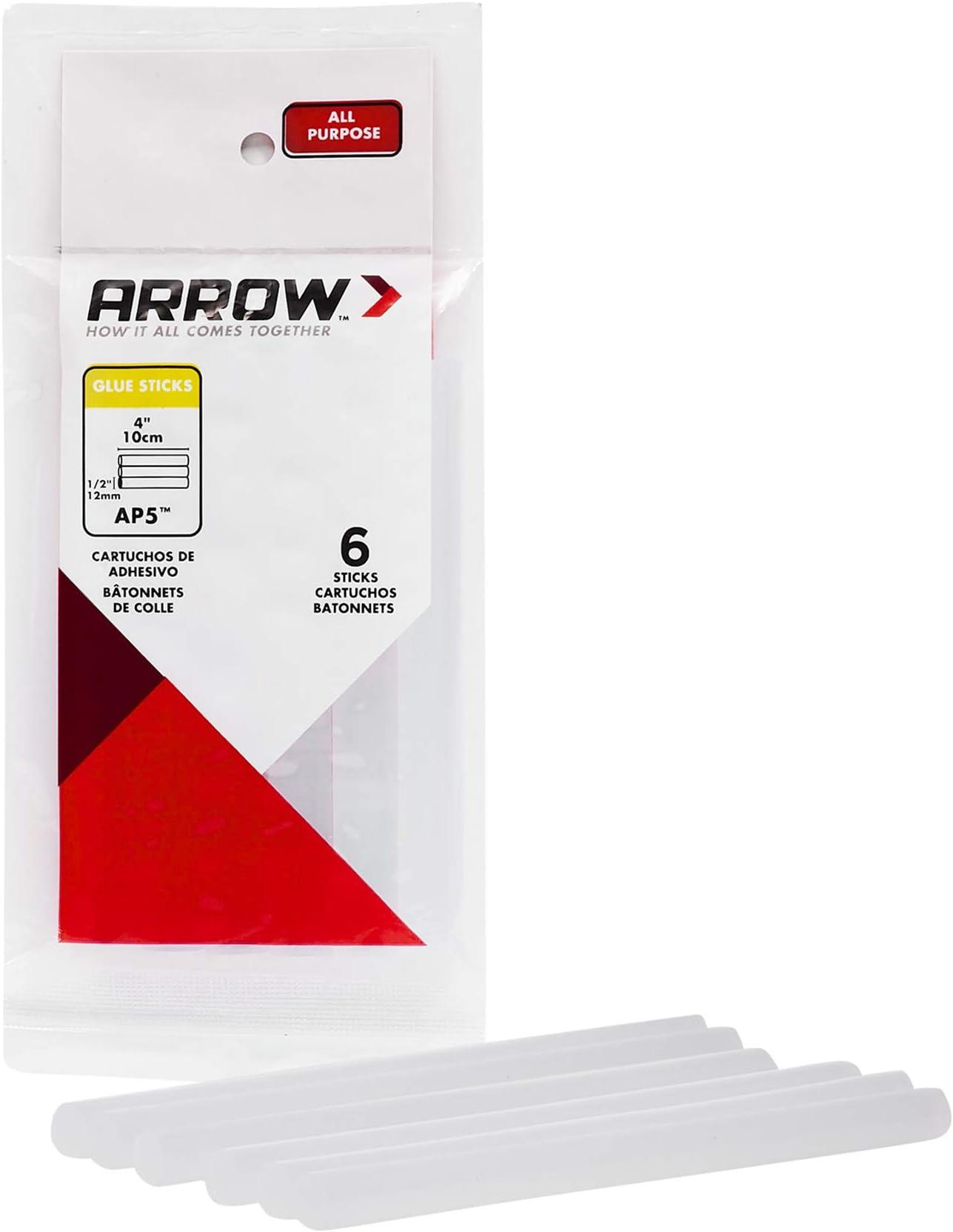 Arrow AP5 All Purpose 1/2-Inch Glue Sticks, 6-Pack