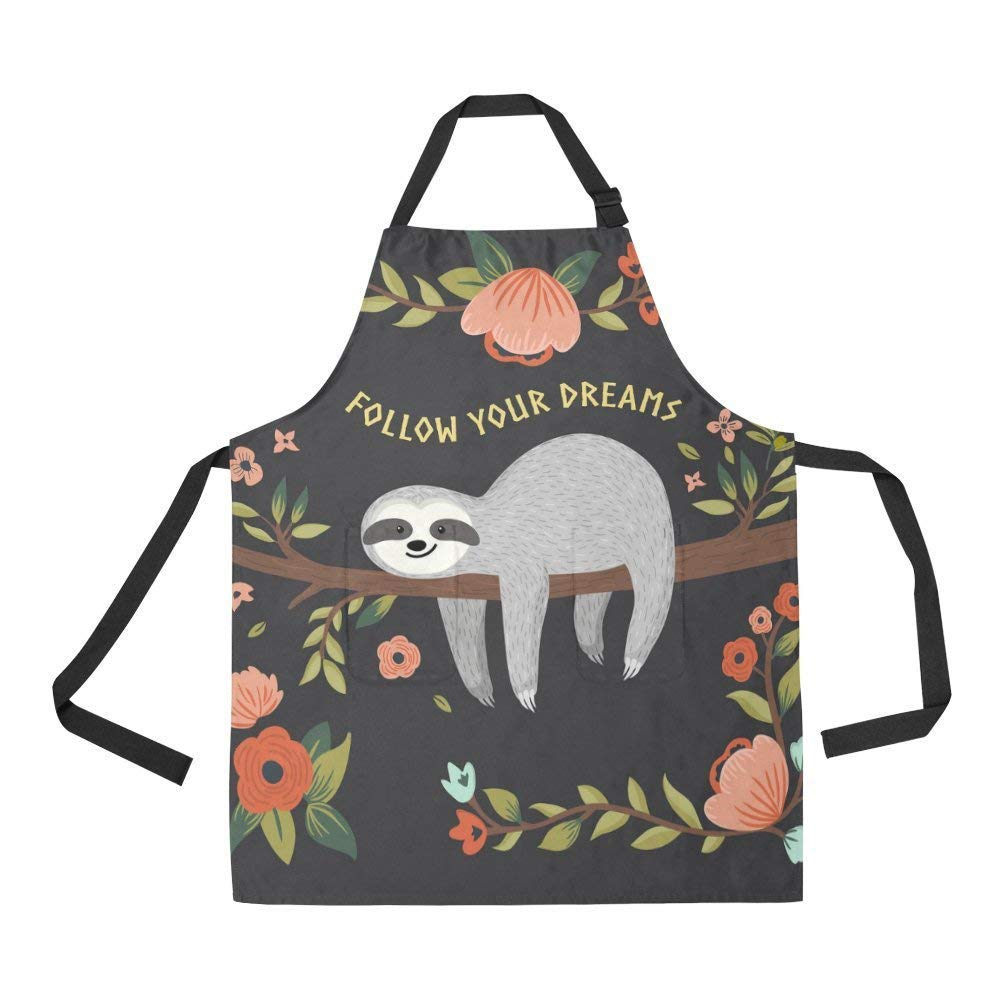 Amazon Com Ashasds Follow Your Dreams Cartoon Baby Sloth Apron Kitchen Cook For Women Men Girls Chef Cute Baby Sloth On The Tree Funny Adjustable Bib Baking Paint Cooking Apron Dress Home