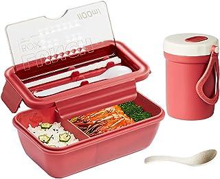 Lunchbox, läckagesäker Bento Box Bärbar uppdelad 1100 ml matbehållare Ta med soppkopp och bestick Mikrovågsugn,Red,20x12x...