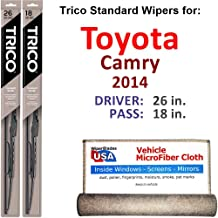 Wiper Blades for 2014 Toyota Camry Driver & Passenger Trico Steel Wipers Set of 2 Bundled with Bonus MicroFiber Interior Car Cloth