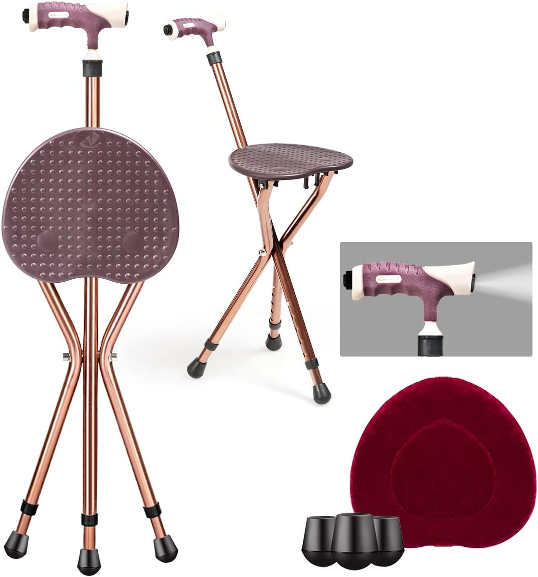Goplus Adjustable Cheap mail order sales Folding Cane Seat Alloy Aluminum Crutch Ranking TOP13 Chair