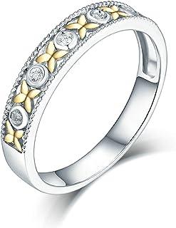 Daesar Anelli Donna Fidanzamento Oro Bianco 18K, Anello con Diamante 0.05ct Fiori Anelli Oro Bianco Fidanzamento