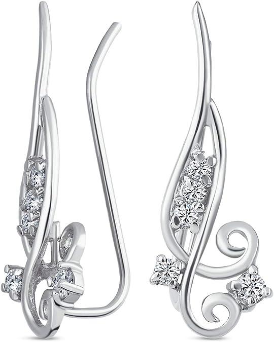 2. CZ Swirl Ear Climbers 925 Sterling Silver