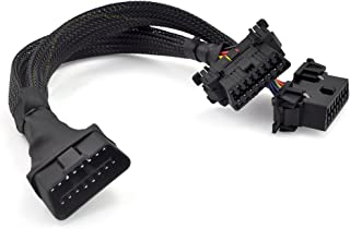 """iKKEGOL 30cm 12"""" 16 Pin OBD2 OBDII J1962 Y Cable Cord Splitter Extension 1x Male to 2x Female Braid Connector"""