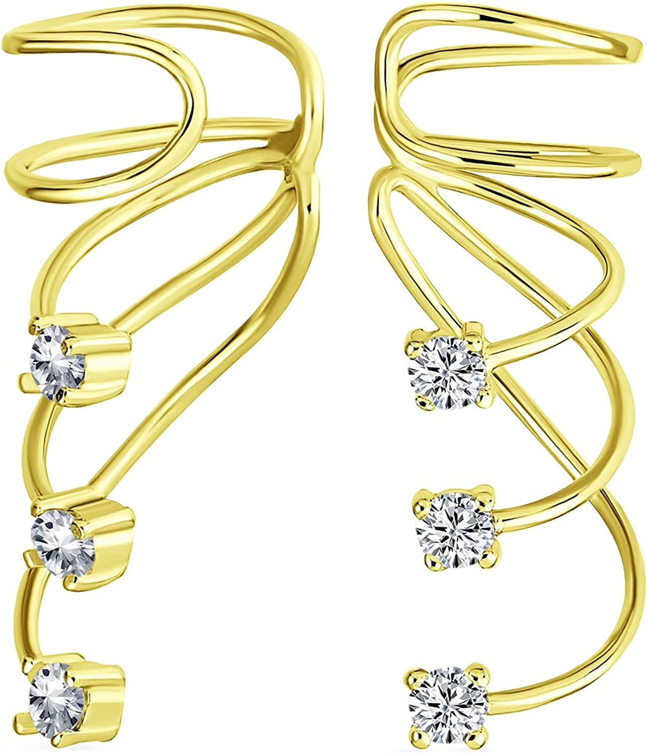 Minimalist 70% Directly managed store OFF Outlet Triple Spiral CZ Wire Cartilage Z Cubic Wrap Ear Cuff