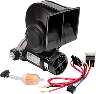 FARBIN Snail Air Horn with Compressor,Compact Electric Trumpets,Car Horn 12V 130db Super Loud Nautilus ,Wiring Harness for Any 12V Vehicles(12V, Black)