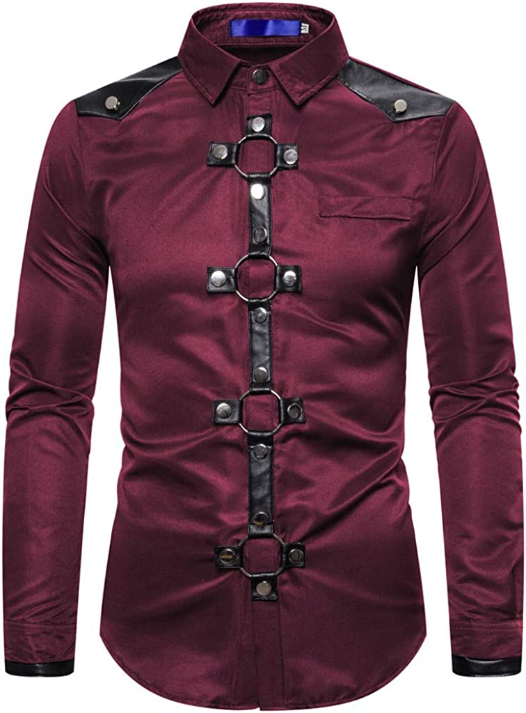 Mens Shirts Long Sleeve Casual Buttons Steampunk Business Retro Muscle Tee T-Shirt Top Blouse Pullover Jumper Sweatshirt
