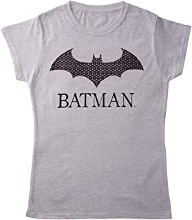 Planet Superheroes Batman Womens T-Shirt - Logo with Name (Grey)