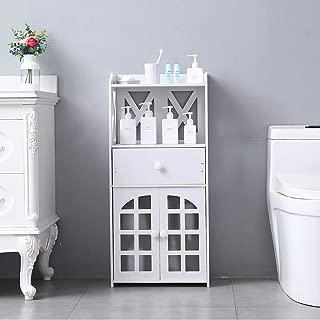 Bathroom Floor Cabinet,Storage Cabinet with Double Door,4-Tier Shelves & Drawer Free Standing Side Storage Unit Bathroom Organizers and Storage Rack Stand PVC Waterproof Kitchen Bathroom Cabinet