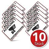 Achtung Videoüberwachung Aufkleber – Schild – Folie – Sticker (Kameraüberwachung – Überwachungskamera – Alarmanlage – Alarmgesichert – Warnschild) Weiss – 10 STK. (14,80...