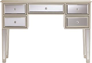 Southern Enterprises Mirage Mirrored Desk Console Table - Mirror Surface w/Silver Trim - Glam Style