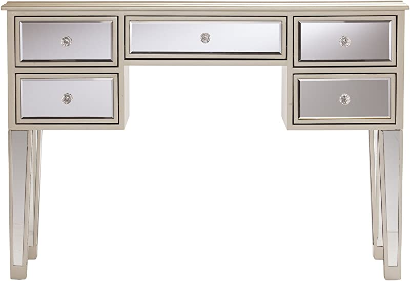 Southern Enterprises Mirage Mirrored Desk Console Table Mirror Surface W Silver Trim Glam Style