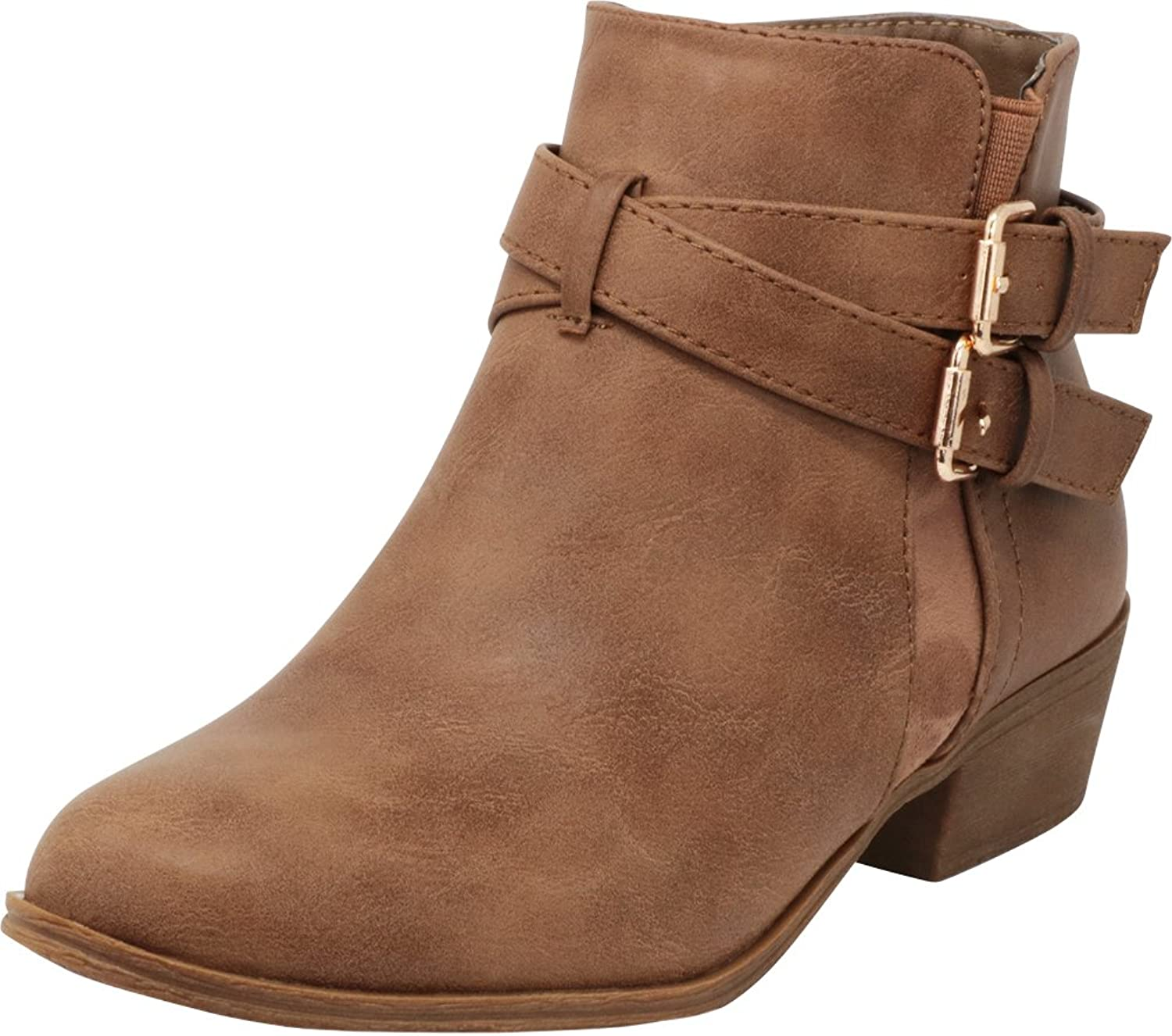 Cambridge Select Women's Closed Round Toe Western Buckled Crisscross Strap Stacked Chunky Block Heel Ankle Bootie