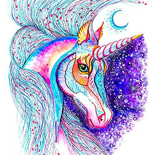 Cuadro de diamantes 5D para hacer uno mismo, unicornio DIY 5D pintura de diamantes, bordado artesanal, salón pintura decorativa para niños adultos arco iris pony agujeros bordado Home pared arte