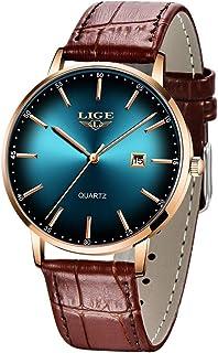 ساعات يد رجالية من LIGE رفيعة للغاية مضادة للماء وعصرية للجنسين مع حزام جلدي ساعات كوارتز تناظرية للرجال