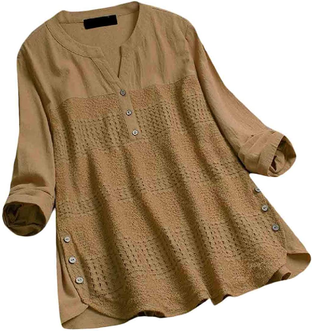 OTW Womens Solid Color Plus Size Long Sleeve Casual Lace Stitch Button Up Shirt Blouse Top