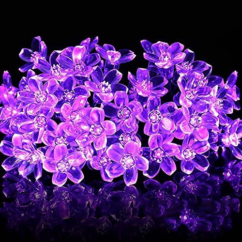 Guirnaldas Luminosas Solar, ZVO 7M 50 LED Sakura Flores Cadena de Luces Solares para Exteriores- 8 Modos Decorativa Impermeable para Jardín, Balcón, Terraza, Boda, Fiesta, Navidad (Morado) ✅