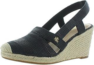 Lauren Ralph Lauren Women's Espadrille Wedge Sandal, BLACK, 9