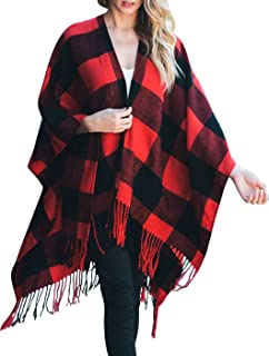 Woven Knit Buffalo Plaid Checkered Wrap Oversized Blanket Sweater Poncho Ruana