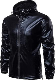 Cottory Mens Nightclub Style Zip Up Hoodied Jacket Shiny Casual Varsity Coat