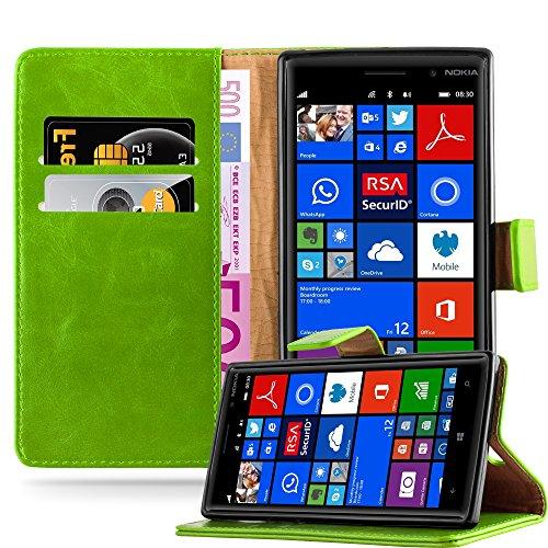 Cadorabo Hülle für Nokia Lumia 830 in Gras GRÜN – Handyhülle mit Magnetverschluss, Standfunktion & Kartenfach – Hülle Cover Schutzhülle Etui Tasche Book Klapp Style