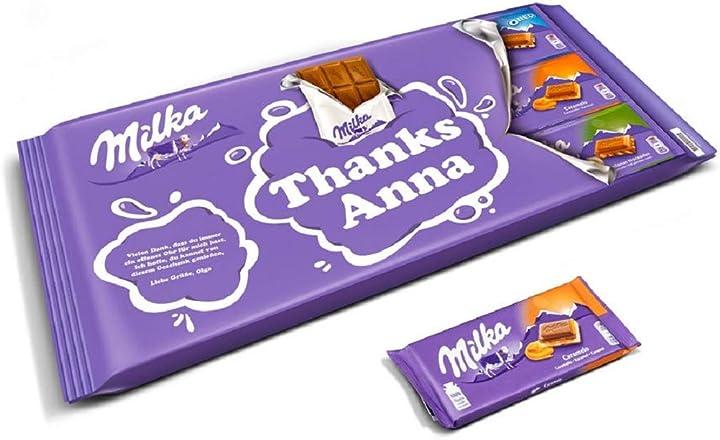 Tavoletta di cioccolato gigante personalizzabile - barretta di cioccolato milka xl personalizzata con il nome B08MZ1X81Y