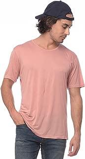 Yoloclan Men's Round Neck Rose Pink T Shirt