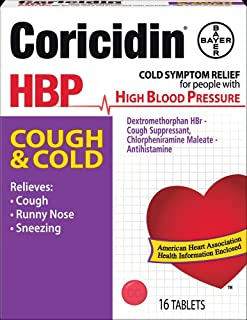 Coricidin HBP Decongestant-Free Cough and Cold Medicine for Hypertensives, Cold Symptom Relief for People with High Blood ...