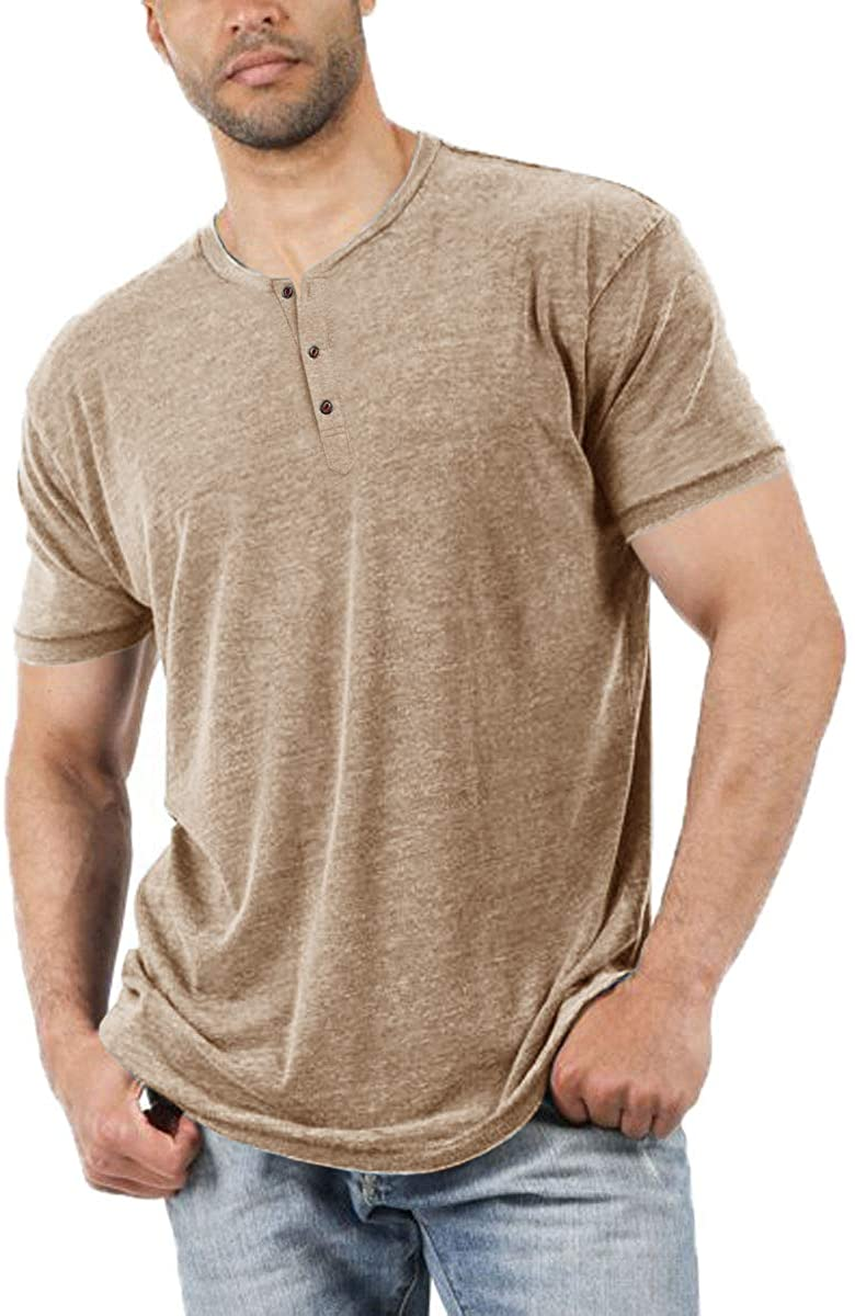 Aoysky Ranking Super special price TOP5 Men Short Sleeve T-Shirt Casual Button-up Hen Color Solid