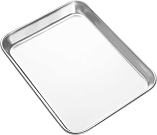 HEAHYSI Mini Stainless Steel Baking Sheets,Small Cookie Sheets, Toaster Oven Tray Pan Rectangle Size 9.4Lx7Wx1H inch By, Non Toxic & Healthy,Superior Mirror Finish & Easy Clean, Dishwasher Safe