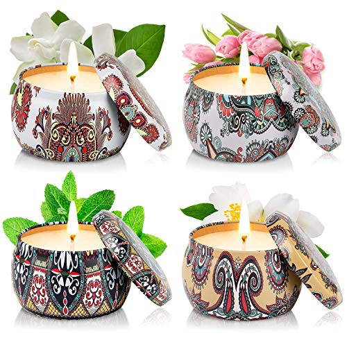 Perkisboby Scented Candles Gift Set, Soy Wax Portable Travel Tin Candles Set for Women with Stress Relief and Aromatherapy, Gardenia, Tulips, Peppemint, Jasmmine (4 x 4.4 oz)