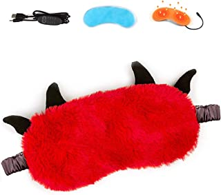 Cute Cold and Hot USB Heated Steam Eye Mask, Adorable Blindfold with Reusable Ice Gels for Sleeping, Eye Puffiness, Dry Ey...