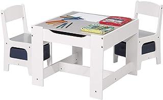 eSituro SCTS0004 Ensemble de Table et chaises pour Enfant Set 1 Table et 2 chaises en MDF Robuste avec tiroir de Rangement...