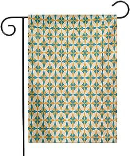 Mannwarehouse Geometric Garden Flag Abstract Geometric Origami Pattern Vintage Illustration Retro Style Print Premium Material W12 x L18 Orange Teal Cream