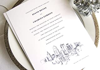Kansas City Skyline Wedding Invitations Package (Sold in sets of 10 Invitations, RSVP Cards and Envelopes)