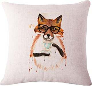 Ezyforu Throw Pillow Covers Mr Fox in Spectacles Cartoon Cotton Linen Burlap Pillowcases Home Decor Square Cushion Covers Cases, 18