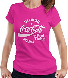 Coca Cola Women/'s Drink 1886 Distressed Retro Roll Sleeve T-Shirt Official
